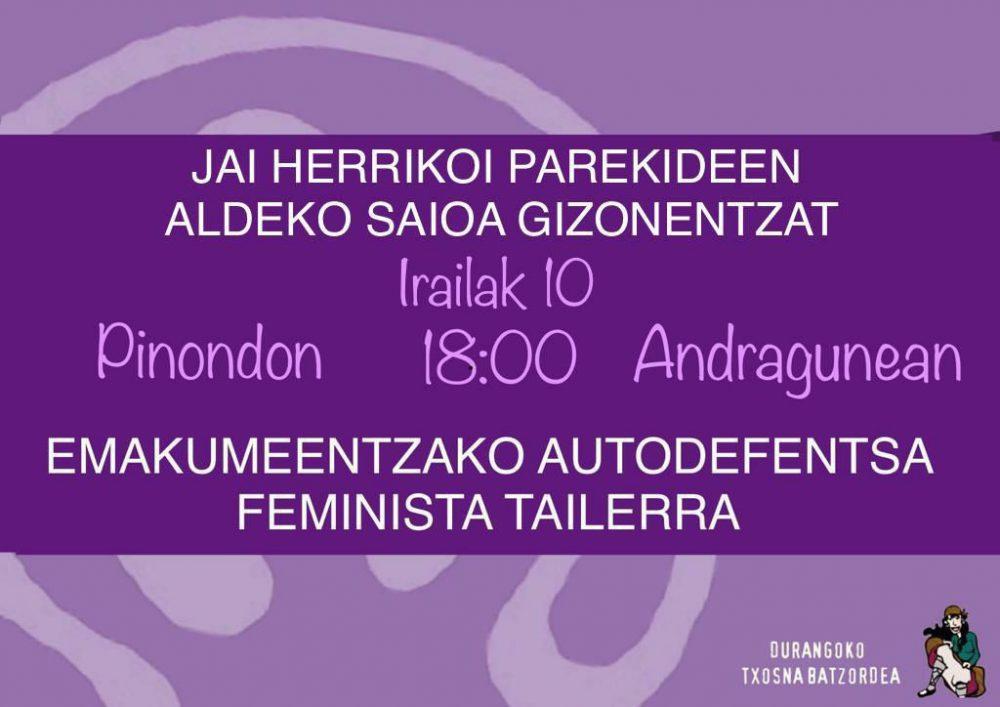 emakumeentzako autodefentsa feminista tailerra